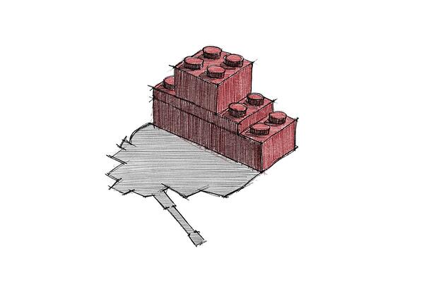 Drawing of a Lego ad where bricks cast a shadow that looks like a tank