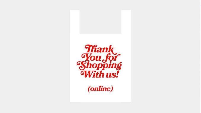 Bag that says thank you for shopping with us online