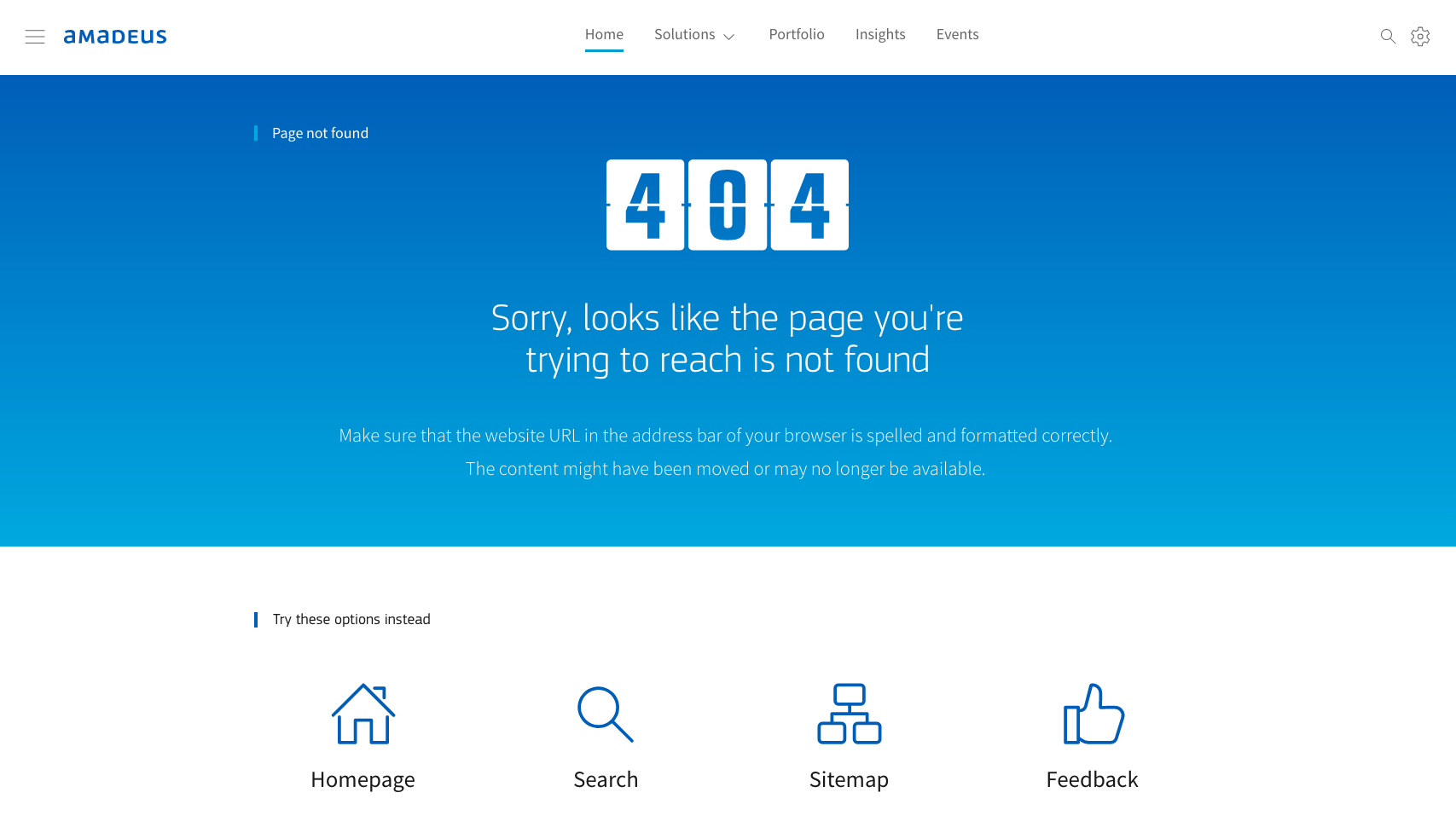 Amadeus IT Group's 404-page with navigation and links to the homepage, search page, sitemap and feedback form.