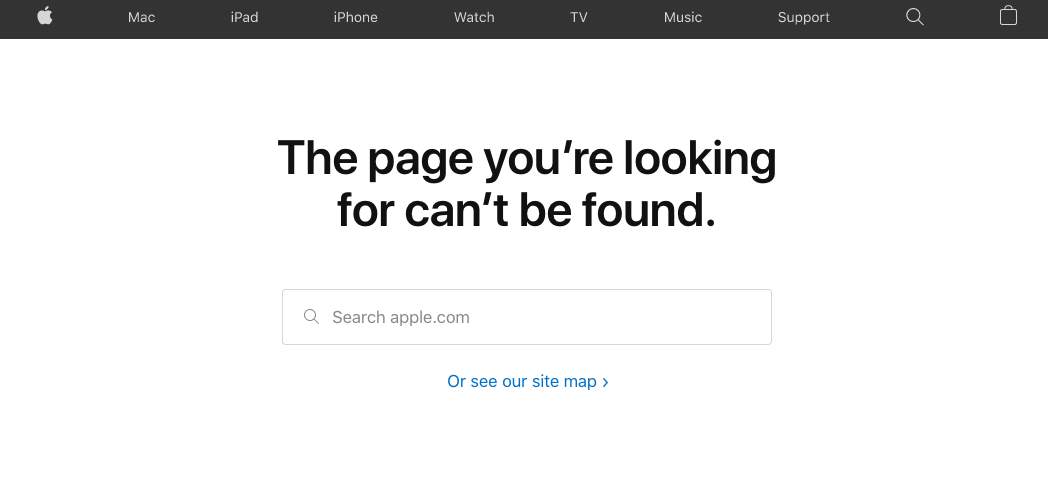Apple's 404-page with navigation items, search box and link to the sitemap.