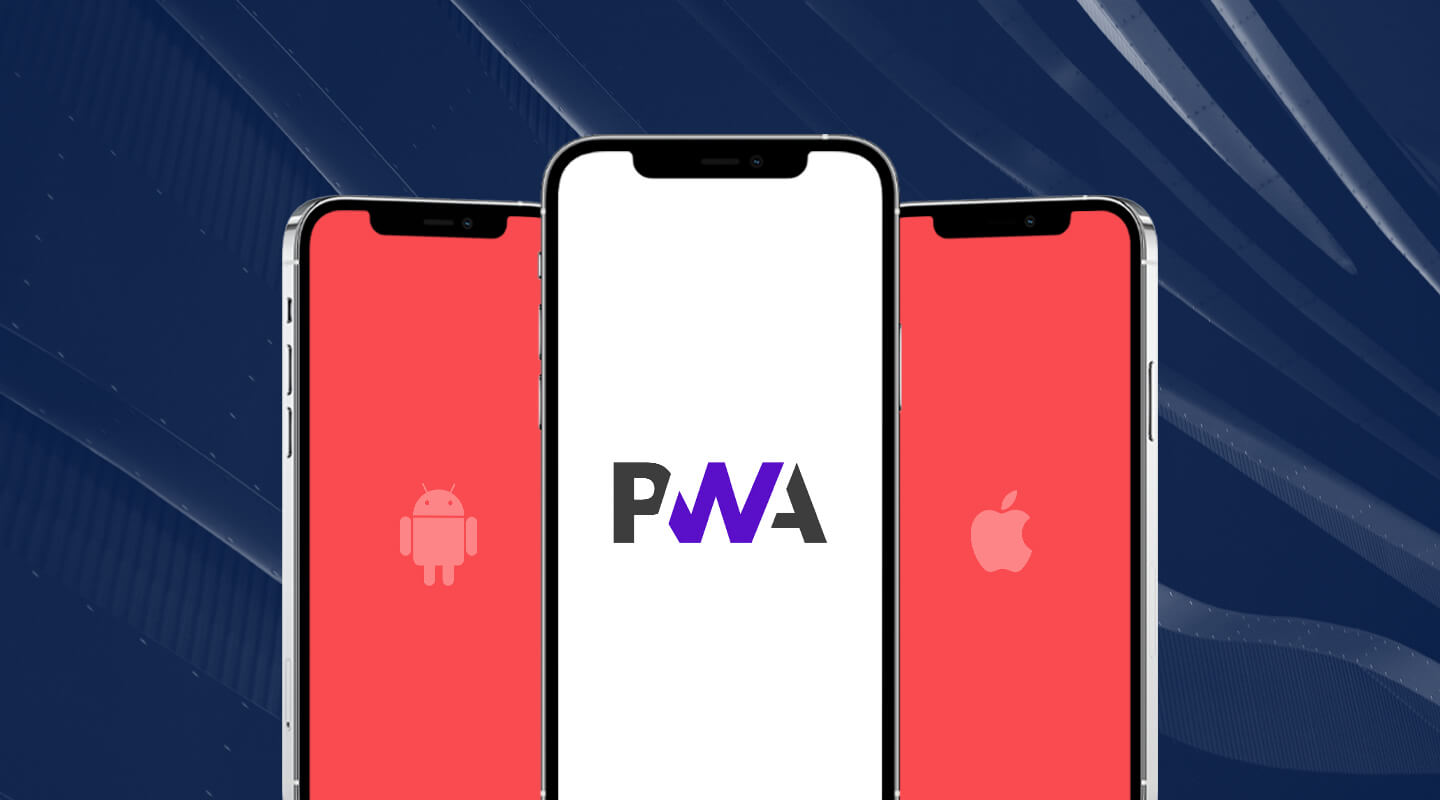 Phones with PWA, Android and iOS logos