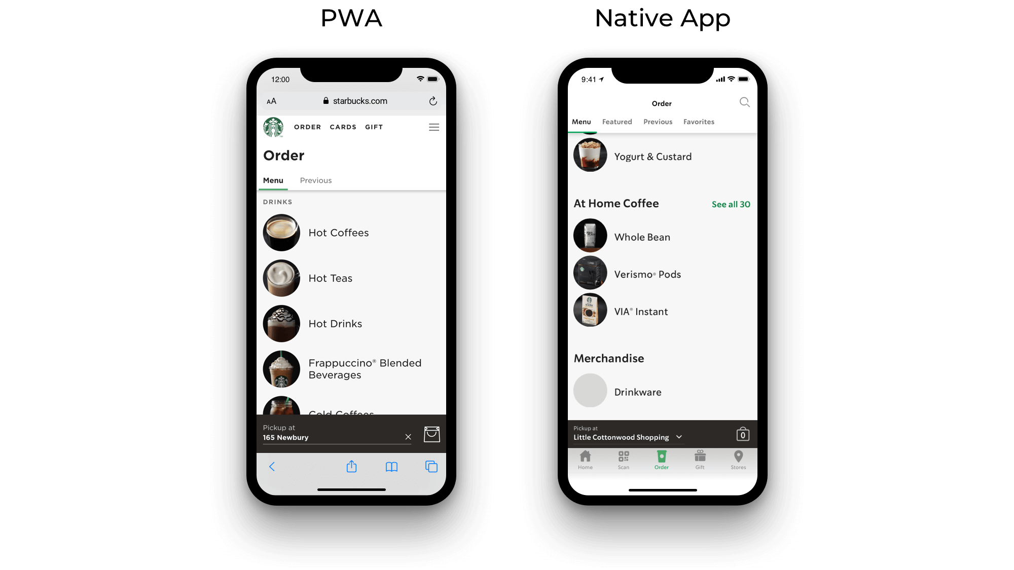 Starbucks progressive web app and Starbucks native app